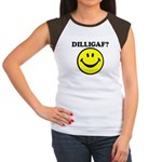 DILLIGAF Smiley Face Women's Cap Sleeve T-Shirt
