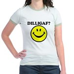 DILLIGAF Smiley Face Jr. Ringer T-Shirt
