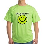 DILLIGAF Smiley Face Green T-Shirt