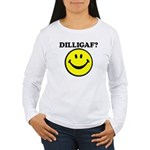 DILLIGAF Smiley Face Women's Long Sleeve T-Shirt