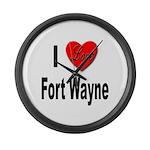 I Love Fort Wayne Large Wall Clock