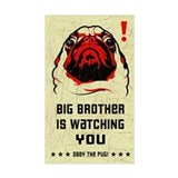 Big Brother Pug Rectangle Decal