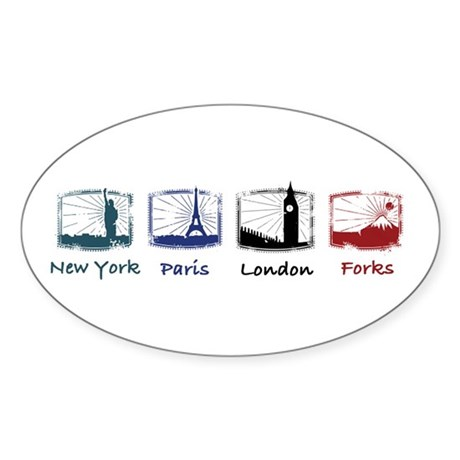 New York, Paris, London, FORK Oval Sticker