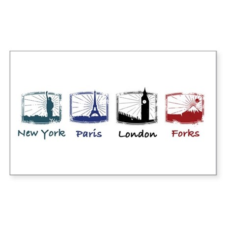 New York, Paris, London, FORK Rectangle Sticker