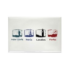New York, Paris, London, FORK Rectangle Magnet