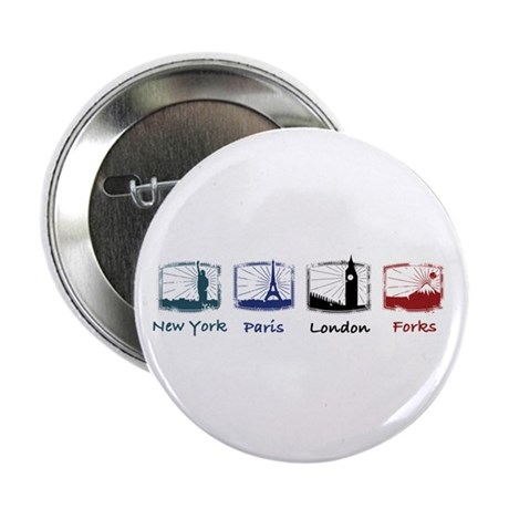 "New York, Paris, London, FORK 2.25"" Button"