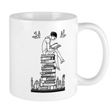 Reading Girl atop books Small Mugs