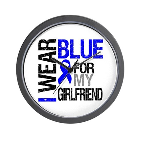 I Wear Blue Girlfriend Wall Clock