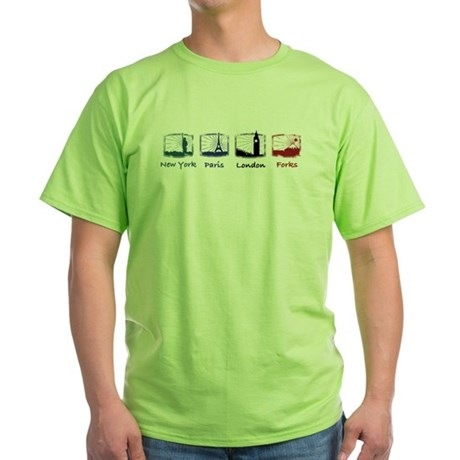 New York, Paris, London, FORK Green T-Shirt