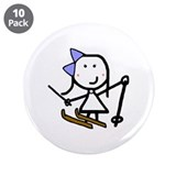 "Girl & Skiing 3.5"" Button (10 pack)"