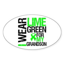 I Wear Lime Green Grandson Oval Sticker (10 pk)