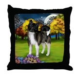 Akita Dog Fall Trees Throw Pillow
