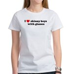 I Love Skinny boys with glasses Women's T-Shirt