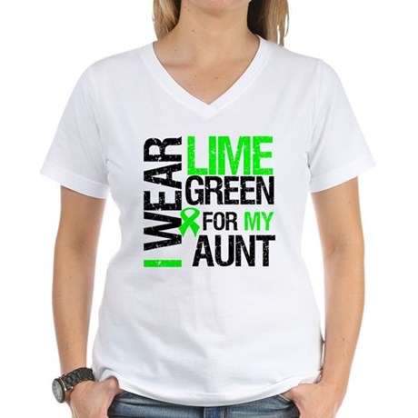 I Wear Lime Green For My Aunt Women's V-Neck T-Shi