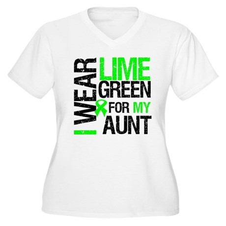 I Wear Lime Green For My Aunt Women's Plus Size V-