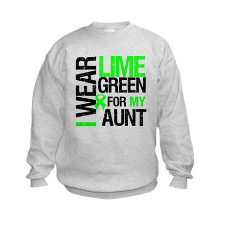 I Wear Lime Green For My Aunt Kids Sweatshirt