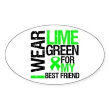 I Wear Lime Green Best Friend Oval Decal