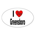 I Love Greensboro Oval Sticker (10 pk)