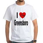 I Love Greensboro (Front) White T-Shirt