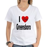 I Love Greensboro (Front) Women's V-Neck T-Shirt