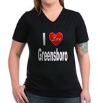 I Love Greensboro (Front) Women's V-Neck Dark T-Sh