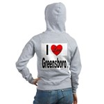 I Love Greensboro (Back) Women's Zip Hoodie