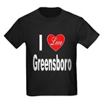 I Love Greensboro (Front) Kids Dark T-Shirt
