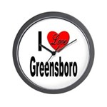 I Love Greensboro Wall Clock
