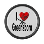 I Love Greensboro Large Wall Clock