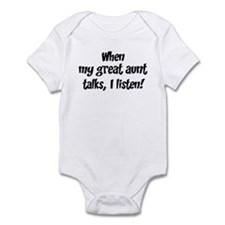 I listen to great aunt Infant Bodysuit