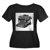 Typewriter Women's Plus Size Scoop Neck Dark T-Shi
