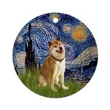 Starry Night and Shiba Inu Ornament (Round)