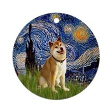 Starry Night and Shiba Inu Ornament (Round)