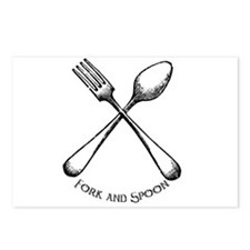Fork and Spoon Postcards (Package of 8)