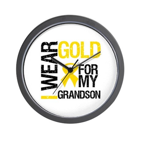 I Wear Gold For Grandson Wall Clock