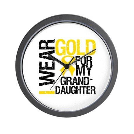I Wear Gold Granddaughter Wall Clock