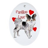 papillon love Oval Ornament