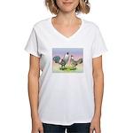 Ameraucana Chickens Pair Women's V-Neck T-Shirt