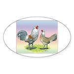 Ameraucana Chickens Pair Oval Sticker (10 pk)