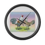 Ameraucana Chickens Pair Large Wall Clock