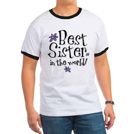 Best Sister Flower Ringer T