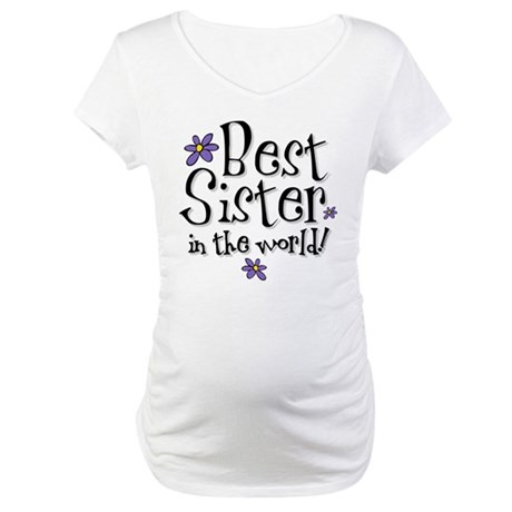 Best Sister Flower Maternity T-Shirt