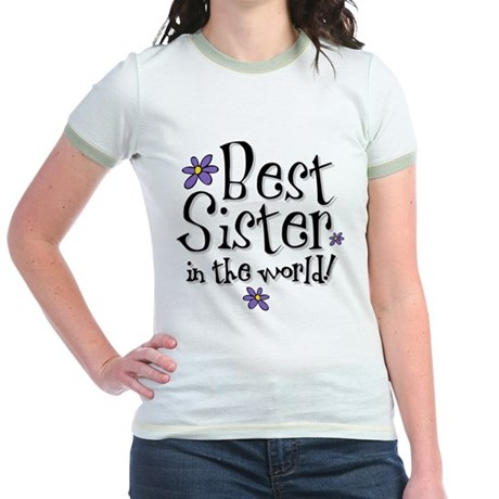 Best Sister Flower Jr. Ringer T-Shirt