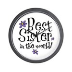 Best Sister Flower Wall Clock