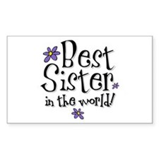 Best Sister Flower Rectangle Decal