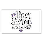 Best Sister Flower Rectangle Sticker