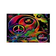 Lucky Peace Sign Collage Rectangle Magnet