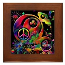 Lucky Peace Sign Collage Framed Tile