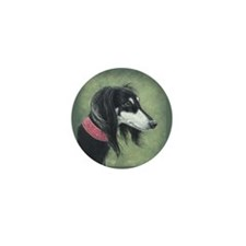 Saluki (Black and Silver) Mini Button (10 pack)