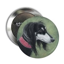 "Saluki (Black and Silver) 2.25"" Button (10 pack)"